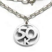 50K Necklace   Sterling Silver   18 inch Silver Chain