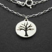 Tree Charm Necklace | Sterling Silver | 18 inch Silver Chain