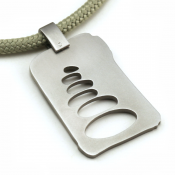 Cairn Pendant | Stainless Steel | Sage | 3mm Polycord