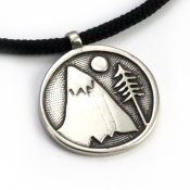 Mountains For Me Pendant | White Bronze | 2mm Polycord