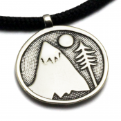 Mountains For Me Pendant | White Bronze | 3mm Polycord