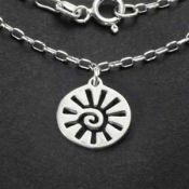 Sun Charm Necklace | Sterling Silver | 18 inch Silver Chain