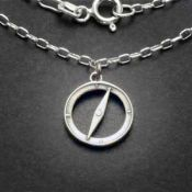 Compass Charm Necklace | Sterling Silver | 18 inch Silver Chain