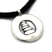Cairn Disc Pendant | Sterling Silver | 2mm Polycord