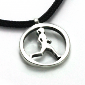 Running Gal Pendant   Sterling Silver   2mm Polycord