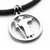Camino Pilgrim Pendant | Stainless Steel | 3mm Polycord
