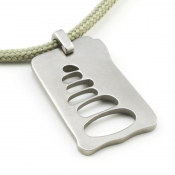 Cairn Pendant | Stainless Steel | Sage | 2mm Polycord