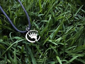 Stainless steel Bear Paw pendant in the grass